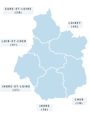 Carte des Arcadies en région Centre