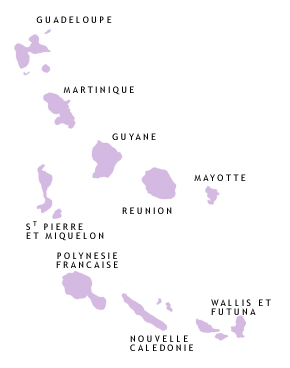 Carte des Arcadies en région Dom-Tom