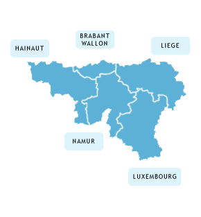 Carte des Arcadies en région Wallonie
